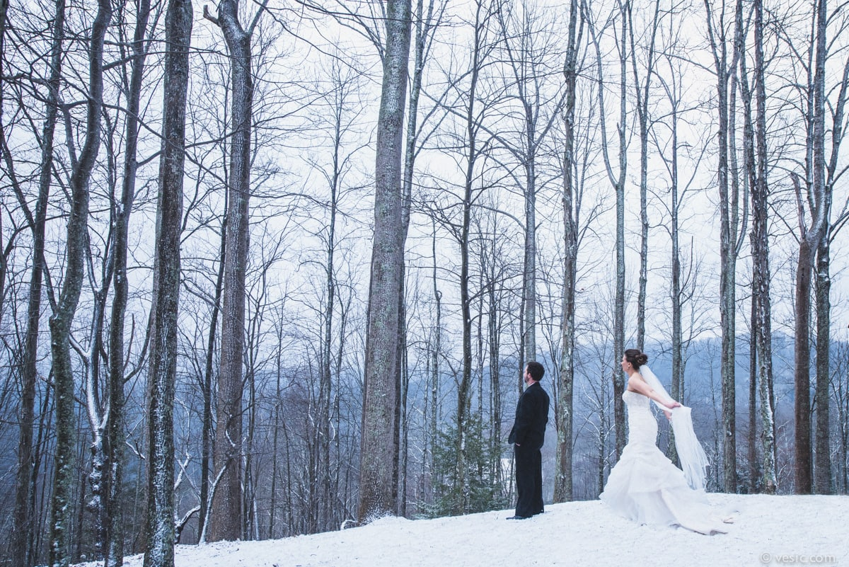 winter wedding in boone  nc