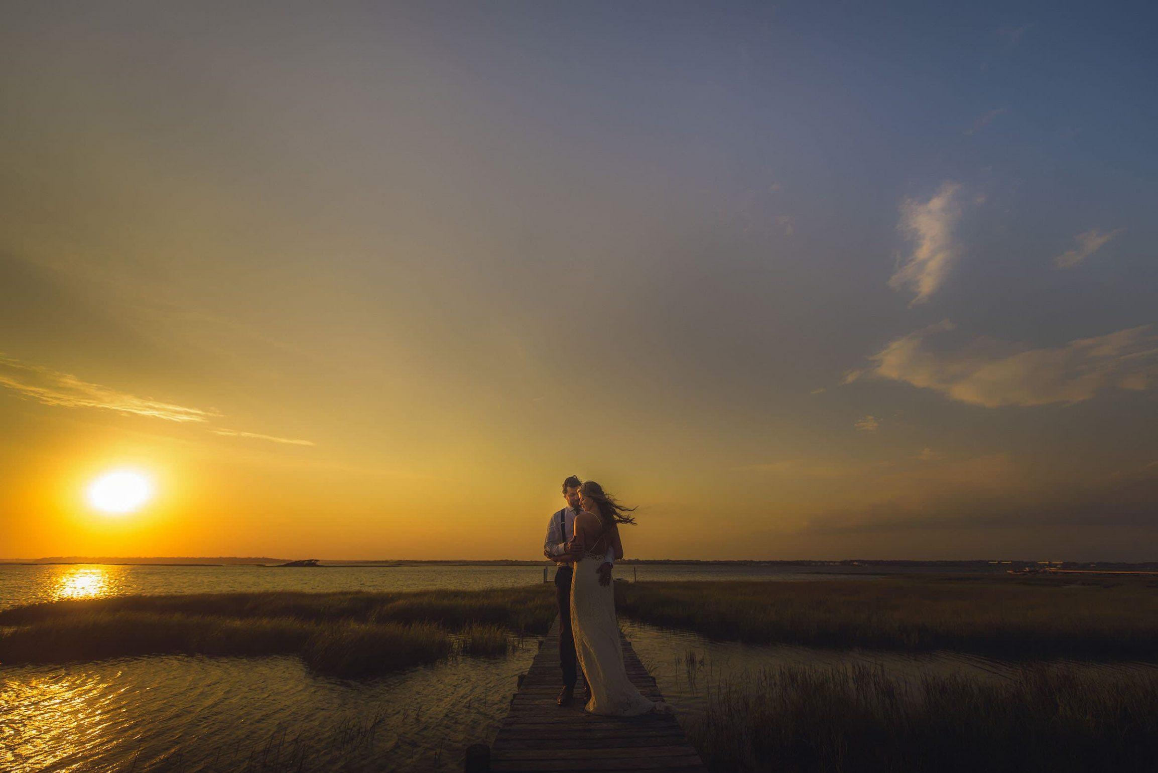 Emerald Isle Beach Wedding Sunset