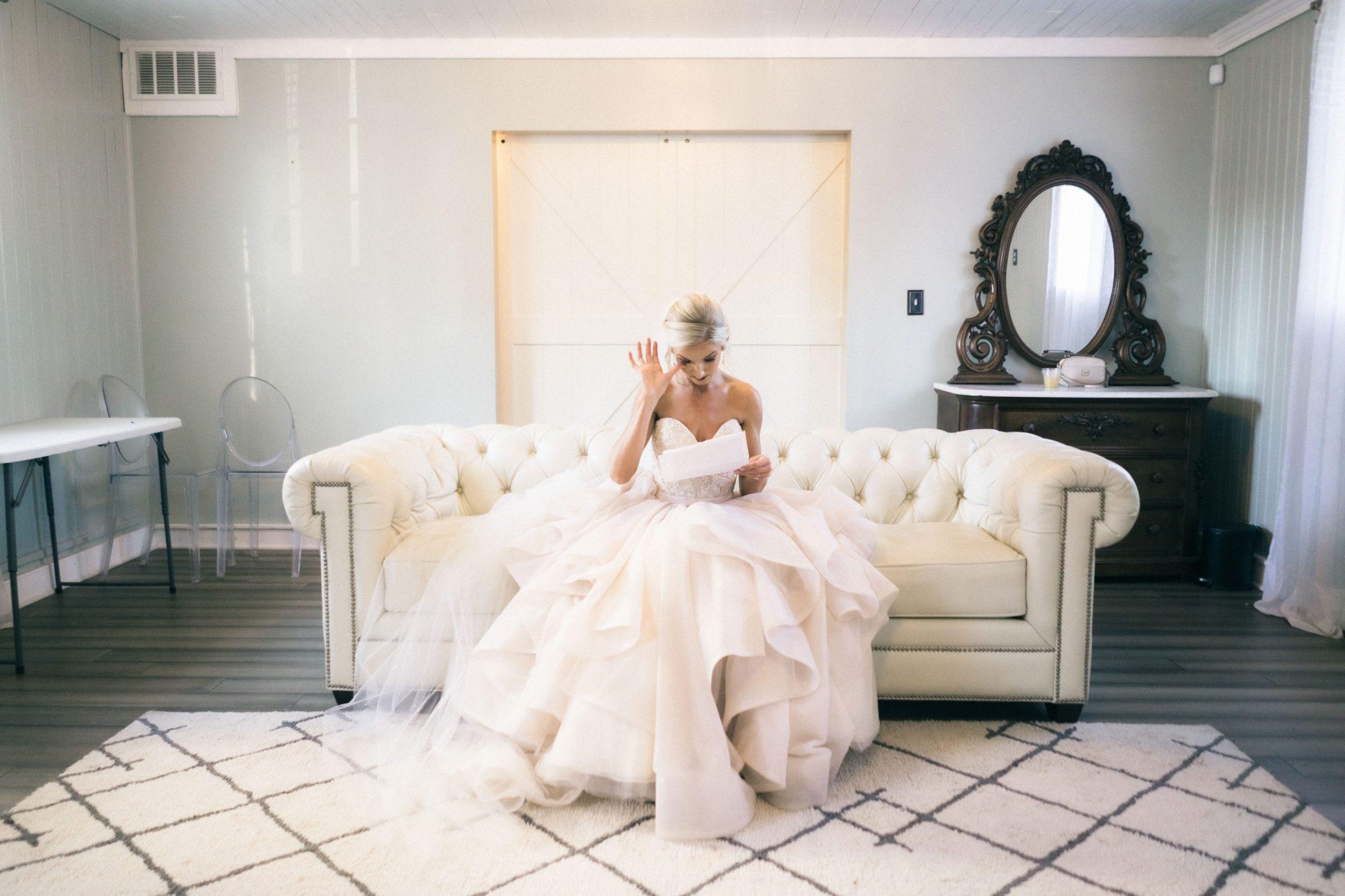 Bride reading letter tears