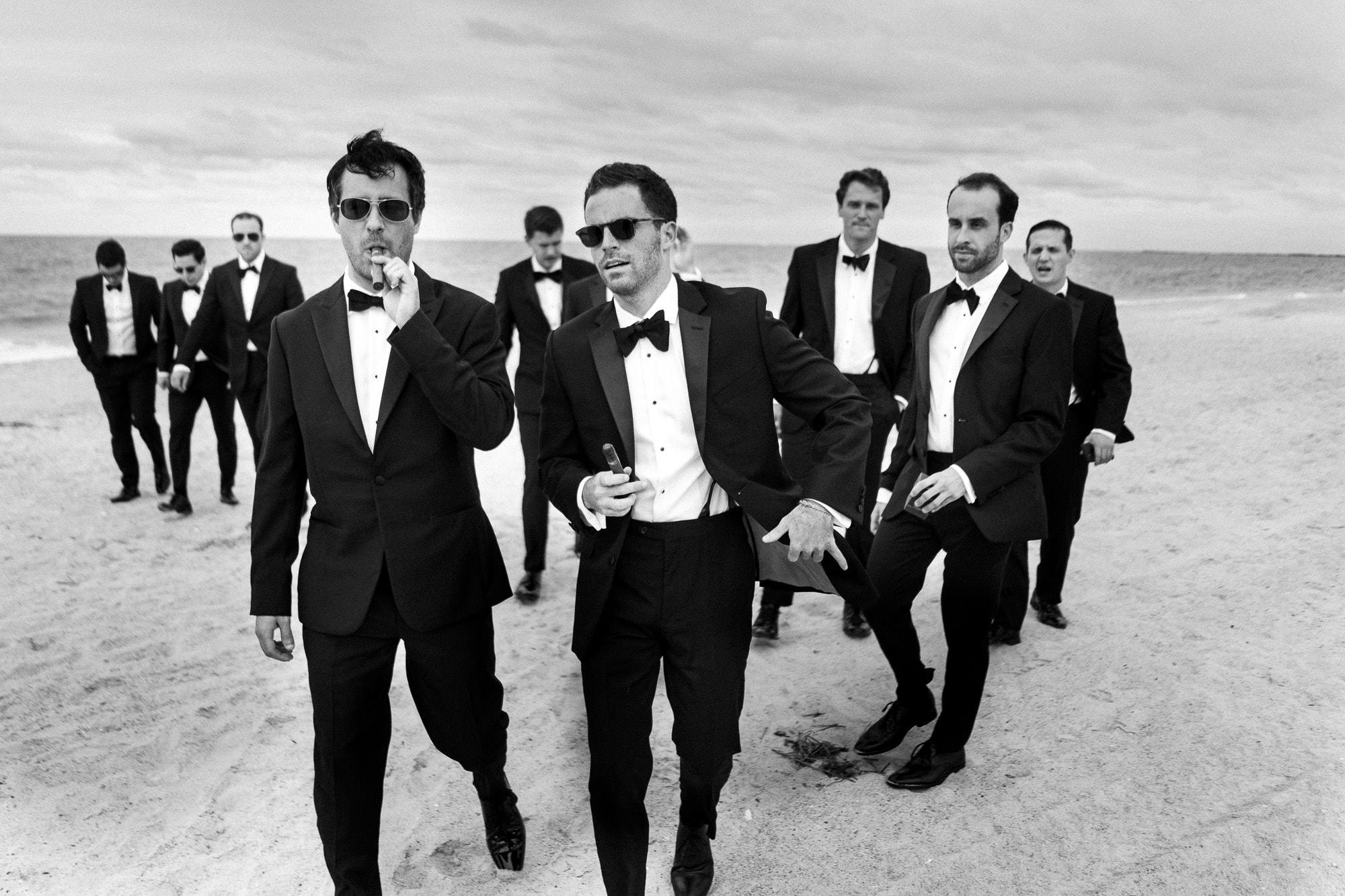 north carolina beach wedding groomsmen